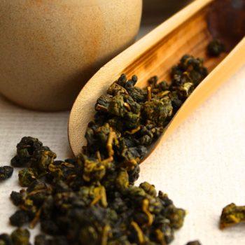 A scoop of Alishan High Mountain Oolong Tea