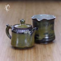 Weathered Tea Dust Glaze Smaller Teapot with Tea Pitcher
