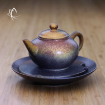 Ash Glazed Small Tea Boat with Shui Ping Teapot