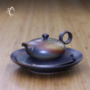 Ash Glazed Small Tea Boat with Small Flat Teapot