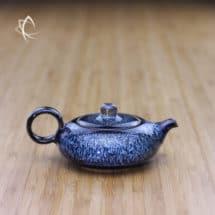 Blue Hare's Fur Small Flat Teapot
