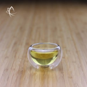 Half Moon Dual Wall Glass Tea Cup