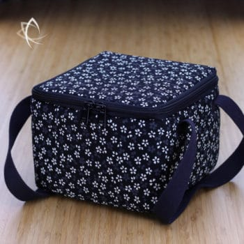 Insulated Square Tea Travel Tote Pack Black Periwinkle Pattern