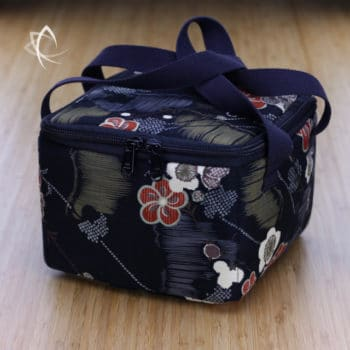 Insulated Square Tea Travel Tote Pack Black Frangipani Pattern