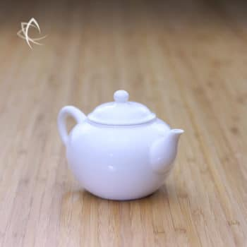 Ivory Porcelain Smaller Shui Ping Teapot Angled View