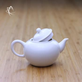 Ivory Porcelain Smaller Shui Ping Teapot Lid Off View