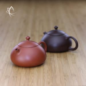 Small Stubby Xi Shi Red Clay and Purple Clay Teapots Featured View