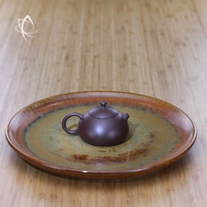 Copper Mist Larger Tea Plate with Stubby Xi Shi Purple Clay Teapot