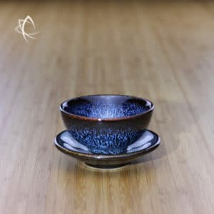 Blue Hare's Fur Half Moon Cup and Saucer Set