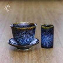 Blue Hare's Fur Tulip Cup Atoma Cup and Saucer Set