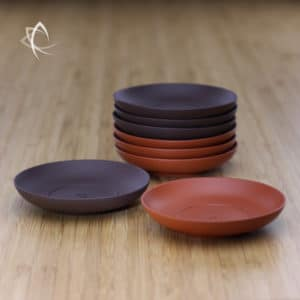 Clay Tea Cup Saucers in Red and Purple Clay Featured View