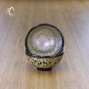 Black Hare's Fur Half Moon Tea Cup Inside View