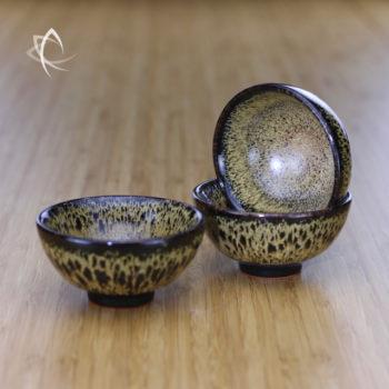 Black Hare's Fur Half Moon Tea Cup Trio Inside View