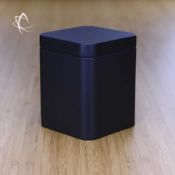 Black Square Tea Caddie Angled View
