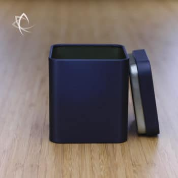 Black Square Tea Caddie Lid Off View