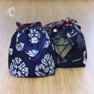 Drawstring Teapot Pouch Indigo and Frangipani Featured View