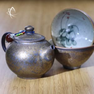 Guilded Teapot and 2 Cups Set Close Up View