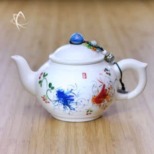 Hand Painted Fish Pond Porcelain Teapot Featured View