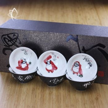 Hand Painted Luohan Tea Cup Set of 6 with Box