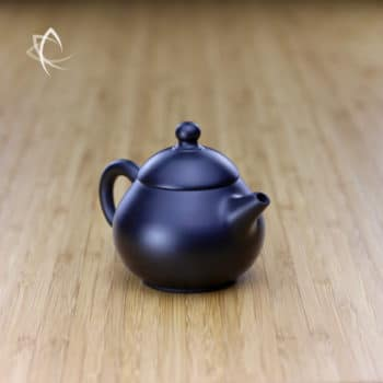 Hand Thrown Black Pear Shaped Teapot Angled View