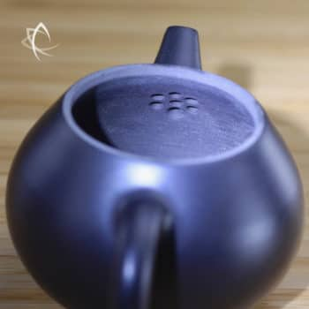 Hand Thrown Black Pear Shaped Teapot Filter View