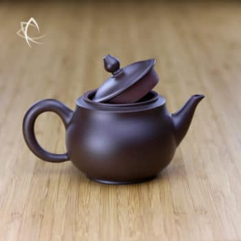 Hand Thrown Refined Purple Clay Teapot Lid Open View
