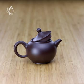 Hand Thrown Small Round Teapot with Marquee Shaped Lid Lid Open View