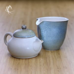 Slate Beige Ju Pi Guava Shaped Teapot with Pitcher Featured View