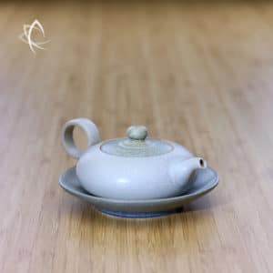 Slate Cream Ju Pi Small Flat Teapot with Small Plate Featured View