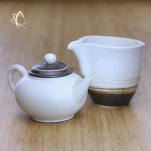 Chocolate Swirl Shui Ping Teapot and Matching Tea Pitcher