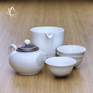 Chocolate Swirl Shui Ping Teapot with Matching Tea Pitcher, Tasting Tea Cup Featured View