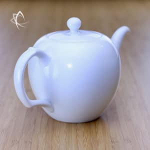Large Mei Ren Jian Satin White Teapot Back Angled View