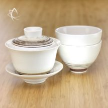 Chocolate Swirl Gaiwan and Matching Refined Cup Set Featured View