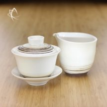 Chocolate Swirl Gaiwan and Matching Tea Pitcher Set Featured View
