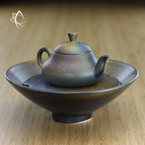 Ash Glaze Small Stubby Pear-Shaped Teapot with Matching Tea Boat Set