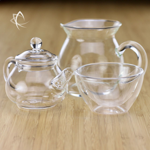 Small Glass Gongfu Teapot With Classic Pitcher And Tulip Dual Wall Cup Set